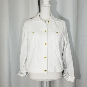 Michael Kors White Denim Jacket Gold Buttons Large